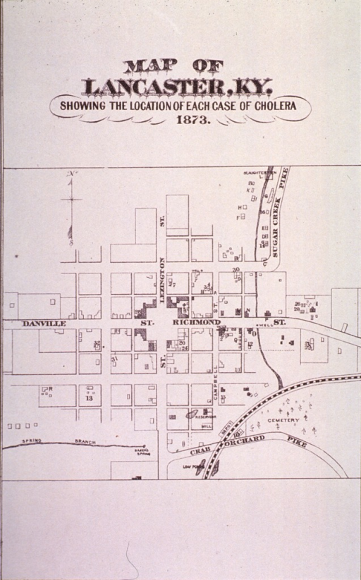 <p>Map of Lancaster, Kentucky, showing the location of each case of cholera in 1873.</p>