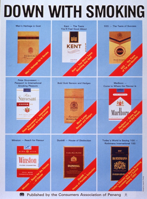 <p>White and light blue poster with black and gold lettering.  Title at top of poster.  Visual image consists of pictures of nine cigarette packages; each brand's slogan and a parody of the slogan emphasizing the danger of smoking appears with the package.  Publisher information at bottom of poster.</p>