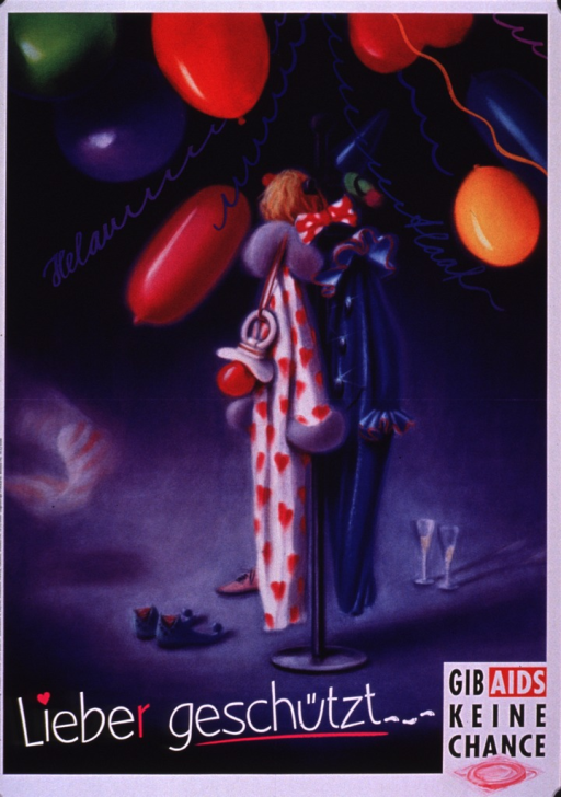 <p>Poster background in shades of purple with the visual showing a clown costume hanging on a rack, several colorful balloons, and a set of champagne flutes. The title is along the bottom of the poster and the bottom right corner of the poster has the logo for Gib AIDS keine Chance (which includes a condom packaged in red).</p>