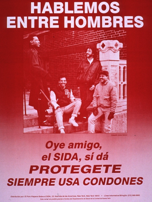 <p>Predominantly red-tone poster with white and red lettering.  Title at top of poster.  Visual image is a photo reproduction featuring a group of men sitting and standing on stairs outside a building.  Caption below photo warns men of AIDS and urges condom use as protection.  Publisher and sponsor information at bottom of poster.</p>