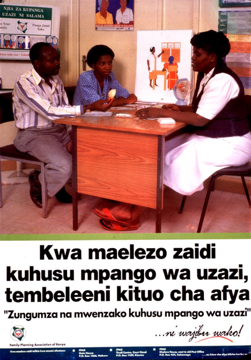 <p>Multicolor poster with black and white lettering.  Visual image in upper portion of poster.  Image is a reproduction of a color photo showing a man and woman seated at a health worker's desk, discussing contraceptive methods.  The man holds a diaphragm.  Title below photo appears to encourage attendance at health centers for instruction in family planning methods.  Notes below title may discuss importance of both partners participating in family planning and responsible behavior.  Logo and publisher information in lower left corner.</p>