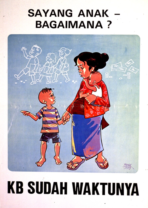 <p>White and light green poster with black lettering.  Title at top of poster.  Visual image is a color illustration of a pregnant woman and her two young sons.  She appears to be thinking about sending the children to school and money.  Caption below illustration deals with family planning.</p>