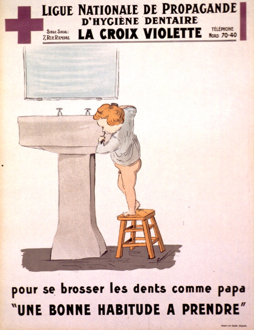 <p>Off-white poster with the Croix violette logo in the top, left corner. The title is along the bottom in black print and the Ligue and Croix violette are along the top. The visual occupies most of the poster and shows a young boy standing on a stool, trying to reach the sink while brushing his teeth. It is a side view of the boy and he is wearing only the top of his pajamas.</p>