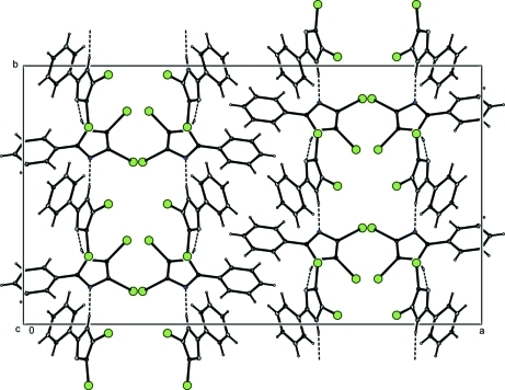 View of the crystal structure down the c axis showing the hydrogen bond interactions.