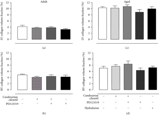 Mean data of interstitial collagen volume fraction of (a) left and (b) right ventricles of adult SHRs treated with vehicle (control, n = 6), candesartan cilexetil (2 mg/kg/day) alone (n = 7) or in combination with PD123319 (10 mg/kg/day, n = 7) or PD123319 alone. Interstitial collagen volume fraction of (c) left and (d) right ventricles of senescent SHRs treated with vehicle (control, n = 10), candesartan cilexetil alone (n = 9) or in combination with PD123319 (n = 9), PD123319 alone (n = 4), or hydralazine (30 mg/kg/day, n = 7).