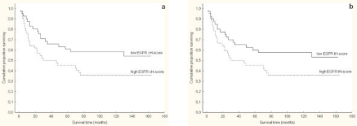 Kaplan-Meier survival analysis according to EGFR protein expression determined as H-score of continuous immunohistochemical staining (cH-score) and total immunohistochemical staining (tH-score) in clear cell renal cell carcinoma (CCRCC): (a) The log-rank test showed significantly shorter overall survival in patients with tumors showing high continuous EGFR protein expression that was above median H-score values (p = 0.046). The 5-year survival rate was 59% for patients whose tumors showed low EGFR cH-score vs. 40% for patients whose tumors showed high EGFR cH-score; (b) on the contrary, the log-rank test showed no significant association between EGFR tH-score and survival (p = 0.074). The 5-year survival rate was 57% for patients whose tumors showed low EGFR tH-score and 40% for patients whose tumors showed high EGFR tH-score.