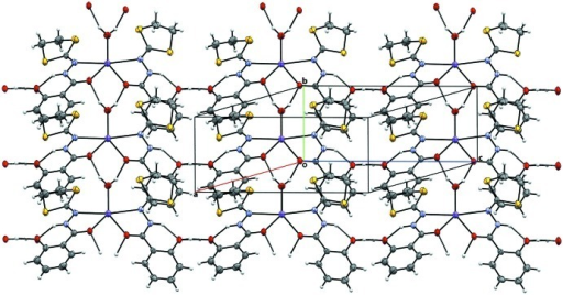 Mercury view of the crystal structure of title compound along the a axis showing the two-dimensional network via a strong hydrogen bonds through O—H···O atoms.