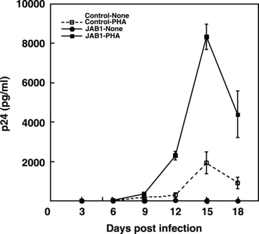 JAB1 promotes HIV-1 replication in activated primary CD4+T cells. pBMN-control-IRES-Lyt2α' and pBMN-JAB1-IRES-Lyt2α' retrovirus vectors were transduced into human primary CD4+ T cells. CD4+ T cells were challenged with HIV-1 (NL4-3) at doses of 400 TCID50 per 1×105 cells with or without PHA stimulation. p24gag levels in culture supernatants were assayed from four wells on the indicated days after infection. p24gag levels were normalized for cell number determined using an XTT assay. Data are presented as the average ± SE per 106 cells. Similar results were observed in three independent experiments.