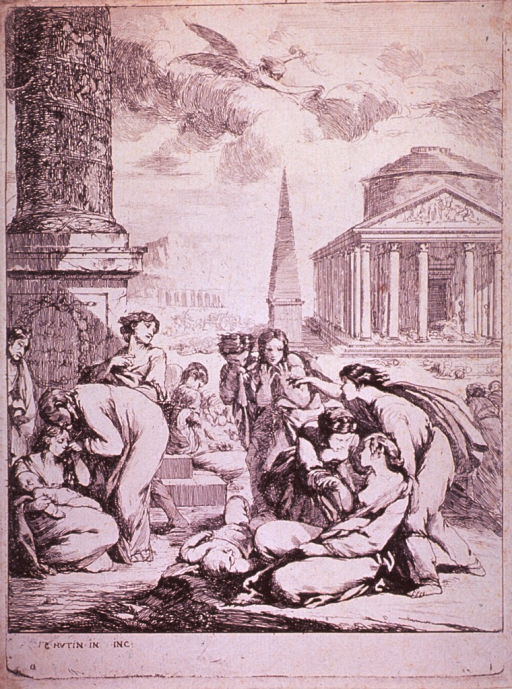 <p>Street scene showing many people attending to plague victims.</p>