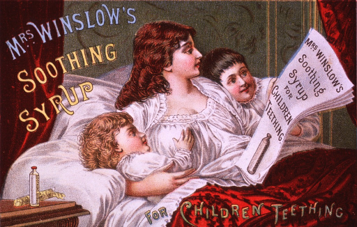 <p>This product for teething children contained morphine.  Visual motif:  Showing a mother in bed with her children; she is reading a newspaper advertisement for Mrs. Winslow's Soothing Syrup.</p>