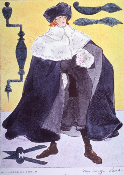 <p>Sixteenth century surgeon's costume.</p>