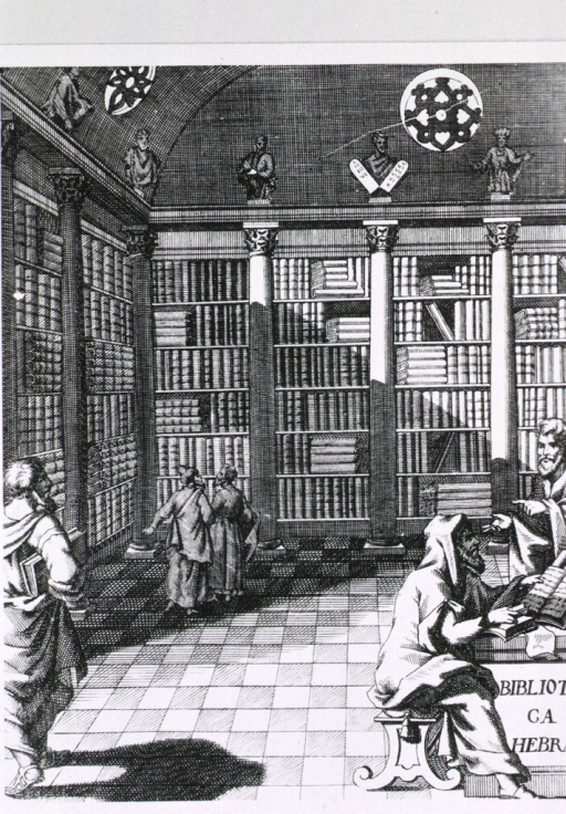 <p>Interior view of the library showing architectural features, shelf arrangement, statuary, and several patrons.</p>