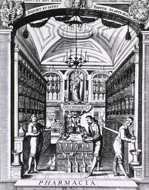 <p>Interior view of a pharmacy with two pharmacists preparing compounds and another man holding a jar; shelves to the left and right contain jars of Galenic and chemical compounds respectively.</p>