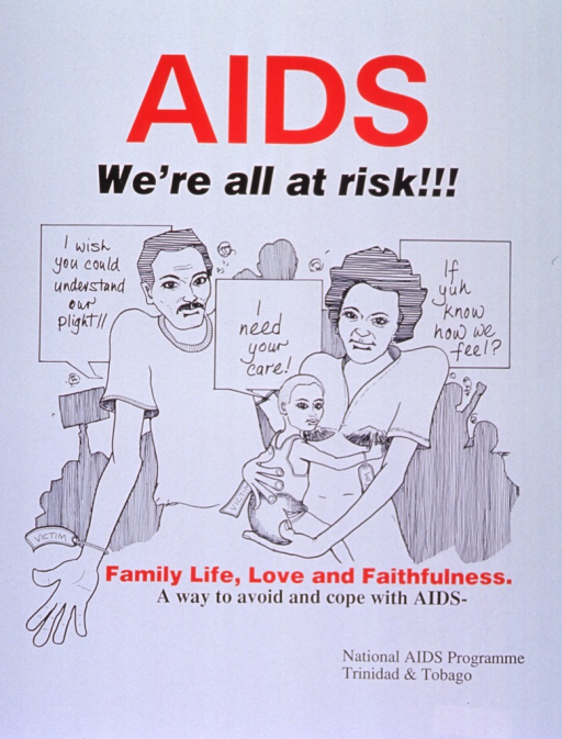 <p>White poster with red and black lettering.  Title at top of poster.  Visual image is an illustration of a man and a woman holding an child.  All three people wear wristbands labeled &quot;victim.&quot;  The people speak the notes, pleading for understanding and care.  Caption below illustration.  Publisher information in lower right corner.</p>