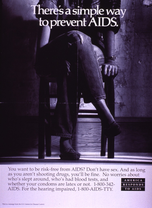 <p>Black and white poster.  Title at top of poster.  Visual image is a b&amp;w photo reproduction featuring a woman sitting in a chair with her legs crossed.  She is shown only from the shoulders down.  Caption below photo.  Note in lower right corner.  Publisher information at bottom of poster.</p>