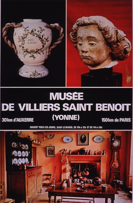 <p>Multicolor poster with white lettering.  Visual images are color photo reproductions featuring a jar (pharmacy jar?), a sculpture of a head, and an historical kitchen.  Title at center of poster.</p>