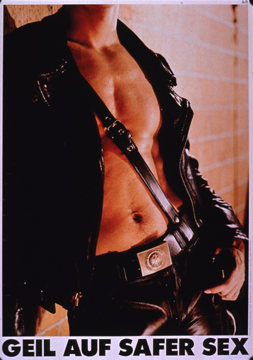 <p>Poster in brown tones with the visual occupying most of the space. The title is at the bottom of the poster in black print with the publishing information along the side. The visual is a photo reproduction of a man wearing a leather jacket and pants, viewed from the neck to the hips. The leather jacket is open and shows his chest with a brown leather strap going diagonally from his belt across his chest to his shoulder.</p>