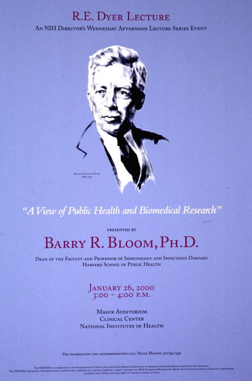 <p>Light blue poster with a b&amp;w white portrait of R.E. Dyer centered in the upper half of the poster.  Lower half of the poster shows the title and information regarding the lecture.</p>