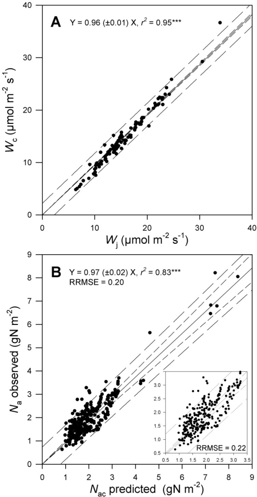 Tests of the coordination hypothesis using values of leaf photosynthetic traits predicted from environmental growth conditions.A) Relationship between the predicted rates of RuBP carboxylation/oxygenation (Wc) and RuBP regeneration (Wj) under plant growth conditions. B) Relationship between predicted (Nac) and observed (Na) leaf N content. The insert in Fig. 2B shows the same relationship without the very high observed Na values for the PFT1. Symbols are as for Fig. 1.