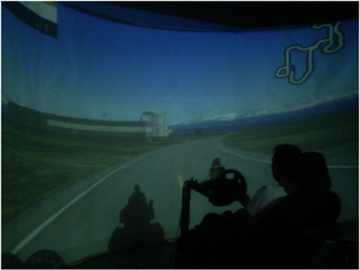 Driving simulator during one of the experiments.
