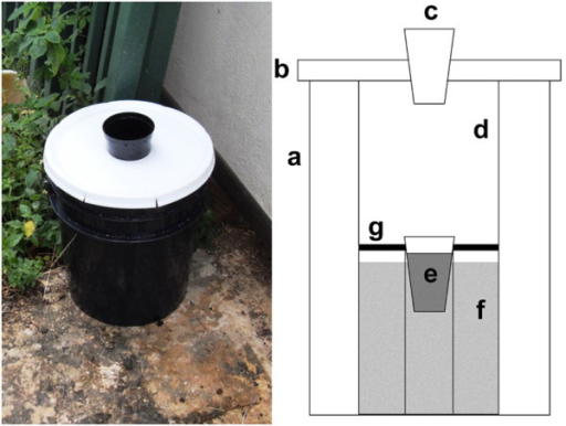 The original autocidal gravid ovitrap (AGO-A). Components include a 19 l black pail (a), a white pail lid (b), an 8.8 cm entrance diameter (c) a white capture surface (CS) coated with adhesive (d), PAM (e), a 2.5 l capacity infusion reservoir (f), and a screen barrier between the CS and the infusion reservoir (g).