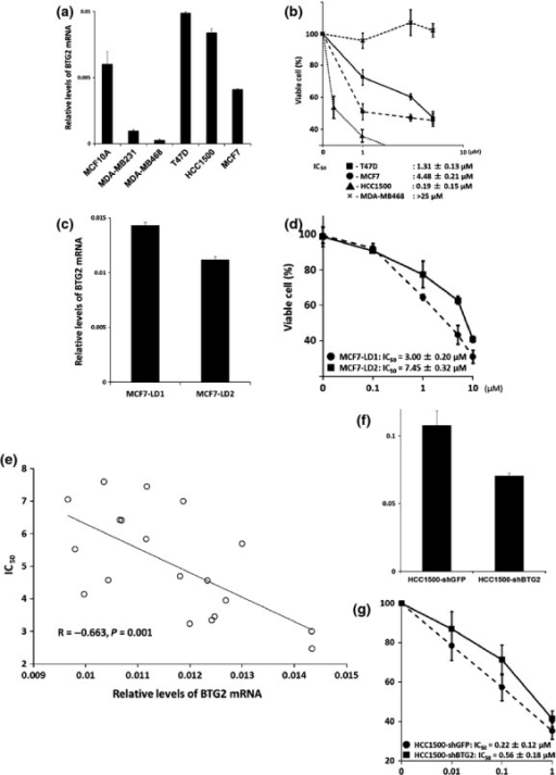Association of B-cell translocation gene 2 (BTG2) expression and tamoxifen effect in breast cancer cell lines. (a) Quantitative PCR analysis (qPCR) of BTG2 expression in an immortalized mammary epithelial cell line, MCF10A, and breast cancer cell lines MDA-MB231, MDA-MB468, T47D, HCC1500 and MCF7. The fold-change in expression relative to GAPDH is shown. (b) Inhibition curve of MCF7, T47D, HCC1500 and MDA-MB231 (negative control) treated with several different concentrations of tamoxifen. The IC50 value was calculated as the concentration at which a 50% loss of viability occurred relative to the untreated cells. (c–e) A single MCF7 cell was plated onto 96-well plates for limiting dilution and 20 subclones were established. An in vitro cytotoxic assay and assessment of BTG2 expression using quantitative RT-PCR analysis were conducted. Each subclone expressed a different amount of BTG2 mRNA and different IC50 against tamoxifen. Relative expression levels of BTG2 on the x-axis and IC50 values on the y-axis were plotted for each subcloned cell in the correlation diagrams (Spearman correlation coefficient, R = −0.663; P = 0.001). (e) RNA from HCC1500 cells infected with shGFP and shBTG2 was analyzed using qPCR to determine the expression of BTG2. (f) The inhibition curve of HCC1500 infected with either shBTG2 or shGFP and treated with several different concentrations of tamoxifen.