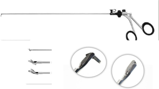 Endoscopic instruments shown Illustrations show a 1 hook, 2 articulated graspers for targeting migrated fragments and 3 a back biter amongst others.