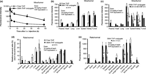 Pharmacokinetics of free pirarubicin (THP) and styrene–maleic acid copolymer (SMA)-conjugated THP (SMA-THP conjugate) after i.v. injection. (a) Blood levels of both drugs after injection in an S-180 tumor model. (b, c) Tissue distribution of free THP and/or SMA-THP conjugate after i.v. injection in an S-180 tumor model. (d) Relative tissue distribution at 24 h after i.v. injection of free THP and SMA-THP conjugate in healthy SD rats. (e) Comparison of tissue distribution of SMA-THP conjugate at 24 and 72 h after i.v. injection in SD rats. Values are mean ± SEM (n = 3). *P < 0.05.