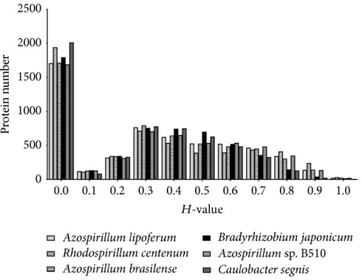 Histogram distribution of predicted proteins in A. amazonense compared with six closely related genomes using BLASTP-based homology value (H value). The H-value reflects the degree of similarity in terms of length of match and the degree of identity at amino acid level between the matching CDS in the subject genome and the query CDS examined with E value > 10−8.