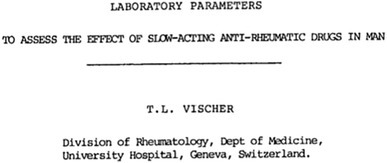 "Earliest use of the term ""slow-acting anti-rheumatic drugs"" identified in PubMed. With permission from Vischer (1979), Agents Actions Suppl, Springer Science+Business Media"