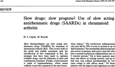 Title page of one of the three publications, in PubMed that had the initialism SAARD in their title. With permission from Capell and Brzeski (1992), Annals of the Rheumatic Diseases, BMJ Publishing Group Ltd