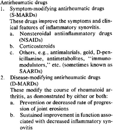 Classification of antirheumatic drugs proposed in 1992. With permission from Paulus et al. (1992), Arthritis and Rheumatism, John Wiley and Sons