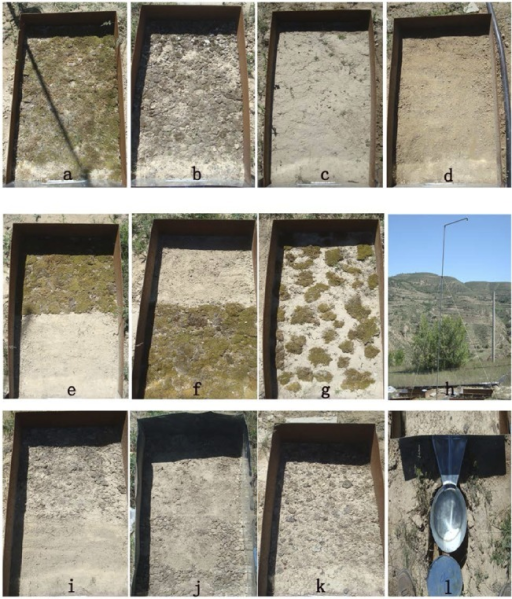 The designed micro-patterns of surface BSCs.Note: (a) fully-covered moss, (b) fully-covered lichen, (c) fully-covered physical crust, (d) non-crusted bare soil, (e) upper half mosses and lower half bare soil, (f) upper half bare soil and lower half moss, (g)scattered mosses with 50% coverage, (h) rainfall simulator, (i) upper half lichen and lower half non-crust soil, (j) upper half non-crust soil and lower half lichen, (k) scattered lichens with 50% coverage, and (l) runoff and sediment collector.