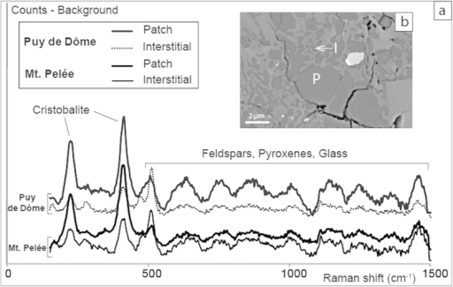Cristobalite in clasts from Montagne Pelée and Puy de Dôme.(a) Raman spectra of crystalline silica patches and of interstitial crystalline silica in dense clasts from Montagne Pelée (May 8th, 1902) and Puy de Dôme: both consist of cristobalite (Micro-Raman spectroscopy, Zeiss Supra V55; UPMC, Paris). Y-axis corresponds to counts minus background for the silica precipitates measurements (not to scale). Minor peaks result from the laser excitation of surrounding material (bubble walls) and correspond to the groundmass phases (Feldspars, Pyroxene and glass). Qualitative details are given in the supplementary material. (b) BSE image of a dense clast from May, 8th, 1902 D-PDC of Montagne Pelée with patches of cristobalite (P) and interstitial cristobalite (I).