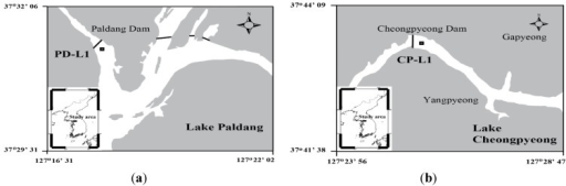 Location of the study area: (a) Lake Paldang and (b) Lake Cheongpyeong.