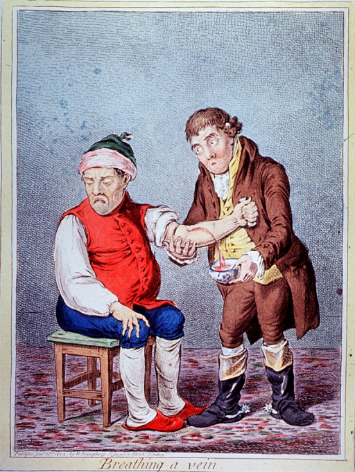 <p>A man sitting on a stool is being bled by another man standing next to him and holding his arm in one hand and, in the other, a bowl into which the blood spurts.</p>