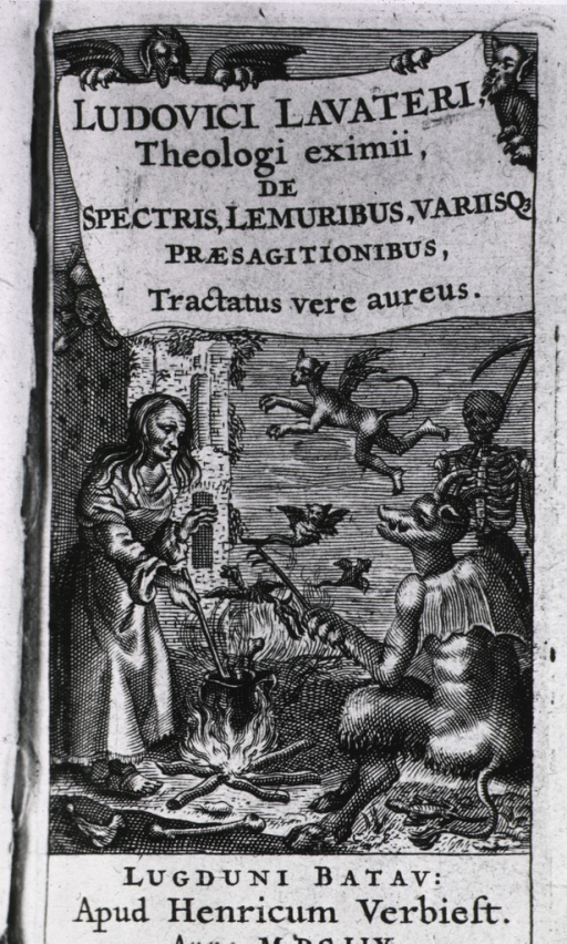 <p>A woman is standing at an open fire stirring the contents of a caldron; a demon is sitting on the ground nearby; Death is in the background, and winged demons are flying about.</p>