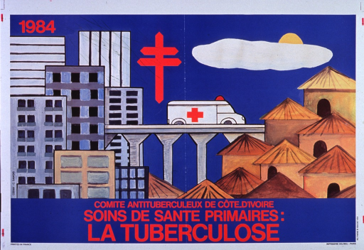 <p>Blue poster with white trim.  Central image on poster is a drawing of an ambulance on a bridge, leaving a city with gray, blue, tan, and white high-rise buildings.  The ambulance heads toward a village with brown and gold thatched huts.  Date appears in upper left corner.  Top center of poster features bright red cross similar to American Lung Association logo, an oblong white cloud, and a half sun, all between city and village.  Bottom of poster has title and text in bright red lettering.</p>