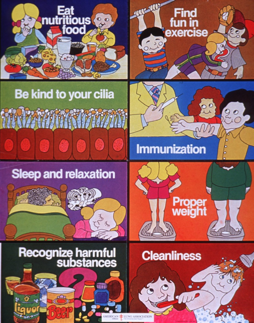 <p>Multicolor poster with white lettering.  Poster consists of eight panels illustrating health behaviors.  Each phrase of the title is associated with one panel.  Images in title order are 1) two children eating, seated at a table filled with healthy food, 2) three active children, one on the monkey bars, one running, one playing baseball, 3) several smiling cilia atop some cells, 4) two children receiving immunizations, 5) one child asleep in bed, another with her head down, counting sheep, 6) two people standing on scales, one at a healthy weight, one overweight, 7) alcoholic beverages and a variety of pills, 8) one child brushing her teeth, one child taking a shower.  Logo for the American Lung Association at the bottom of poster.</p>
