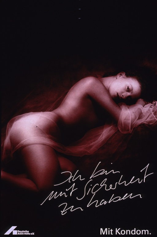 <p>Poster in shades of brown with the image diagonally across the poster. The visual consists of the photo reproduction of a woman lying on her side with a sheer scarf draped across her. Part of the title is in white cursive and the remainder is in white print, located at the bottom of the poster along with the publishing information.</p>
