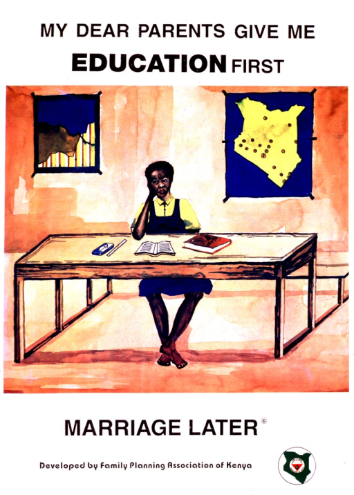 <p>Multicolor poster with black lettering.  Initial title phrase at top of poster.  Visual image is a reproduction of a watercolor painting of a schoolgirl seated at a desk.  A book is open on the desk and two maps are on the walls in the background.  Remaining title phrase below painting.  Publisher information and logo at bottom of poster.</p>