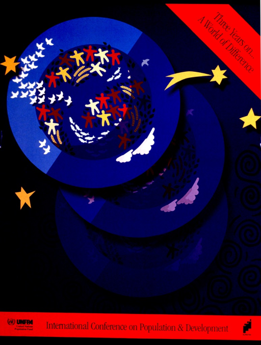 <p>Blue and red poster with black lettering.  Title in upper right corner.  Visual image is a circle with abstract birds, fish, people, and vegetation superimposed.  The circle is repeated three times, though only the uppermost iteration is fully visible.  Conference name and publisher information at bottom of poster.</p>