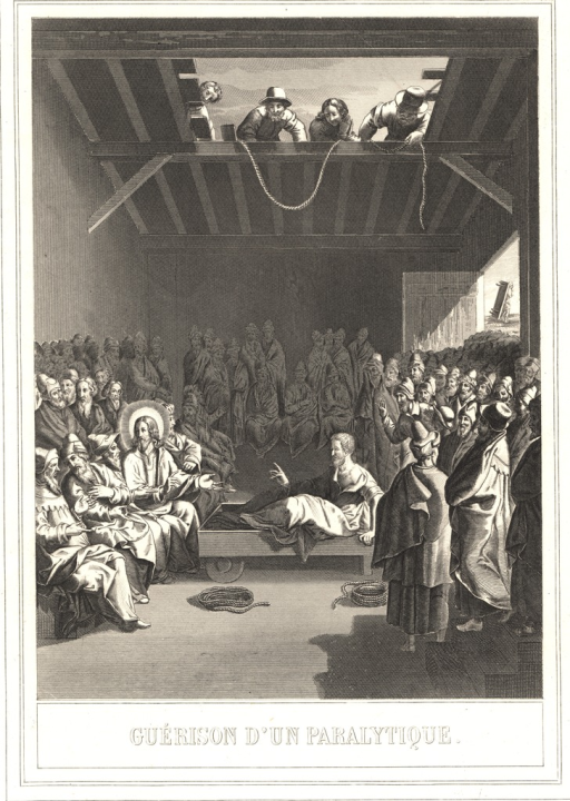 <p>Christ, surrounded by the apostles, sits in a building in front of a paralyzed man.  A crowd surrounds the bed of the paralyzed man.  Through a skylight in the room, a group of men peers down and lowers a rope.</p>