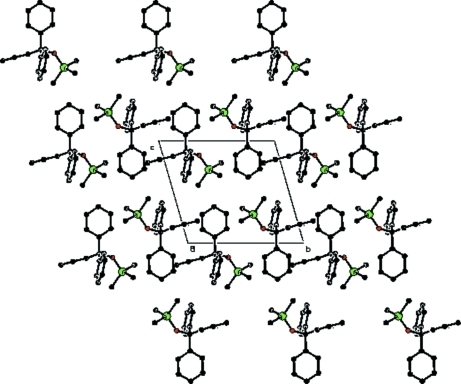 The packing arrangement of molecules viewed down the a axis.