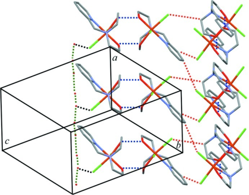 View of the crystal packing of the title compound, with inter­molecular O—H⋯O hydrogen bonds between FeIII complex mol­ecules drawn as blue dashed lines. C—H⋯Cl hydrogen bonds are indicated as red dashed lines; water mol­ecules and chloride anions are also connected through O—H⋯O hydrogen bonds (black dashed lines).