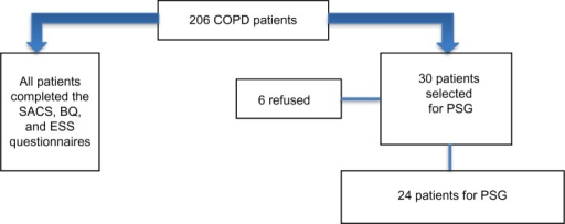 Flowchart of recruitment.Abbreviations: BQ, Berlin Questionnaire; COPD, chronic obstructive pulmonary disease; ESS, Epworth Sleepiness Scale; PSG, polysomnography; SACS, Sleep Apnea Clinical Score.