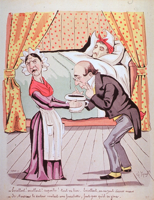 <p>A physician, near a sick patient's bedside, sniffs the contents of a chamber pot, which is held at arms length by a chambermaid.</p>