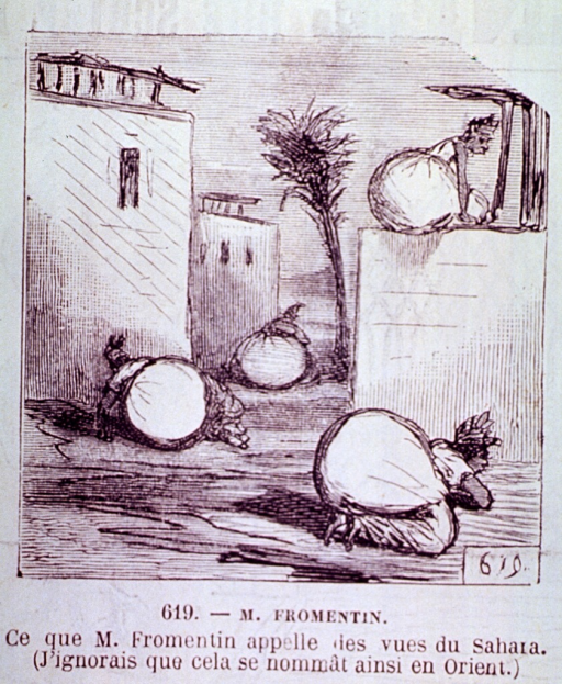 <p>Courtyard scene:  Sitting on and lying next to buildings are women with enormous buttocks.</p>