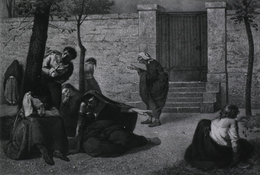 <p>Mentally disturbed patients in the courtyard of L'Hospice de la Salpetriere.</p>