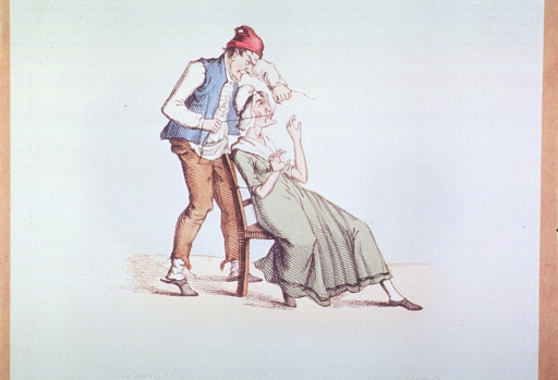 <p>A woman sitting in a chair is having a tooth extracted by a man standing behind her pulling on string attached to the tooth.</p>